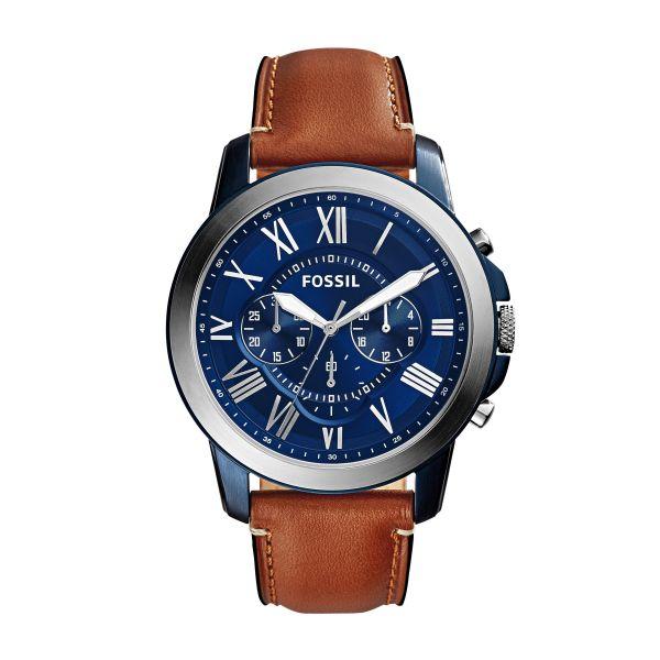 Fossil FS5151 Herren-Uhr Grant Leder Braun Chronograph Quarz Ø 44 mm