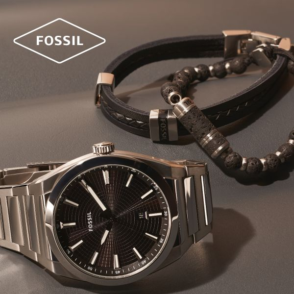 Fossil JF03686040 Armband Herren Essentials Mehrsträngig Leder Edelstahl
