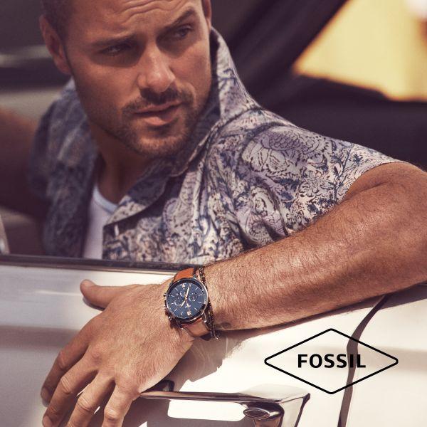 Fossil JF03684040 Armband Herren Essentials Mehrsträngig Leder Edelstahl