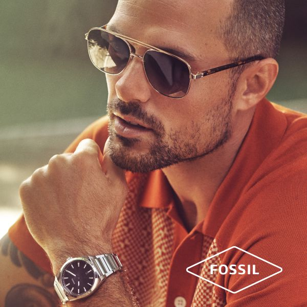 Fossil JF03620040 Armband Herren Cool Tones Lava Bead Schwarz Edelstahl