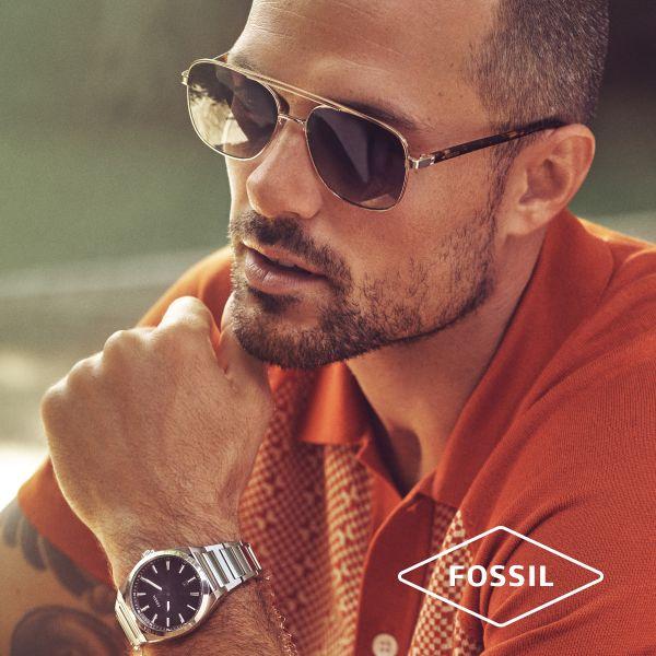 Fossil JF03616040 Armband Herren Warm Tones Tigerauge Leder Edelstahl