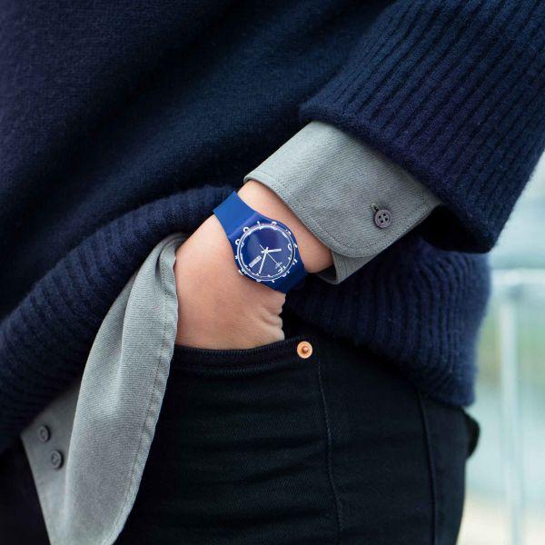 Swatch GN726 Armband-Uhr Over Blue Analog Quarz Silikon-Armband Ø 34 mm