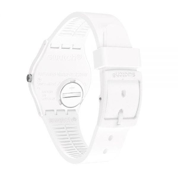 Swatch GW717 Armband-Uhr Unisex N igma White Analog Quarz Silikon-Armband Ø 34 mm