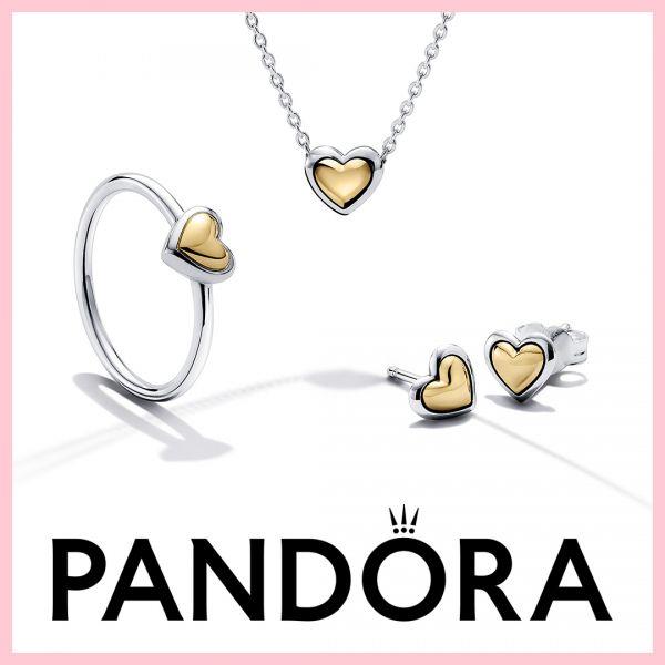Pandora 559522C00 Schlangen-Gliederarmband Moments mit Herz-Verschluss 14k Gelbgold