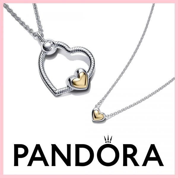 Pandora 359520C01 Halskette mit Anhänger Damen Erhabenes Herz 14k Gelbgold 45 cm