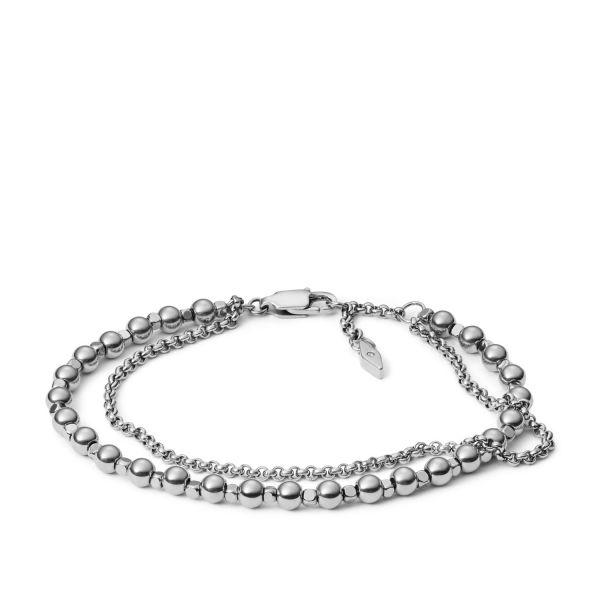 Fossil JA6775040 Armband Damen Multi Beads Edelstahl Silber-Ton