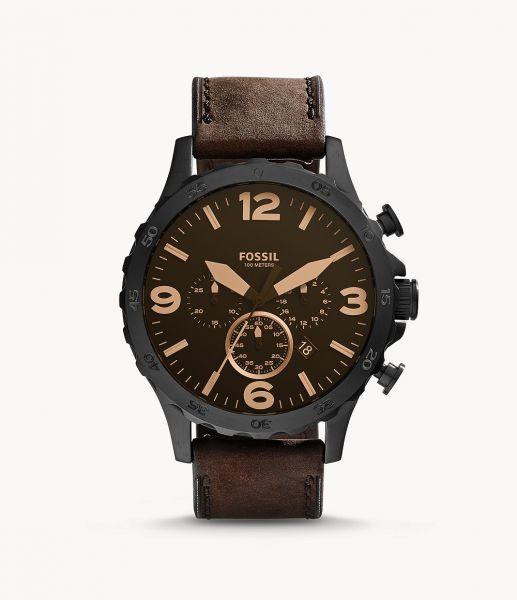 Fossil JR1487 Herren-Uhr Nate Leder Braun Chronograph Quarz Ø 50 mm