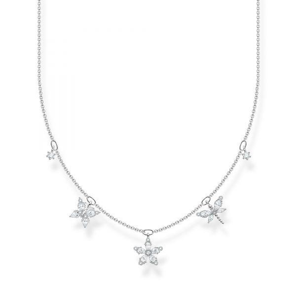 Thomas Sabo KE2100-051-14 Halskette mit Anhänger Schmetterling Blume Weiss Silber