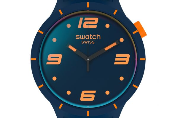 Swatch SO27N110 Armband-Uhr Futuristic Blue Analog Quarz Silikon-Armband