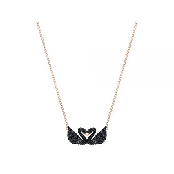 Swarovski 5296468 Halskette Iconic Swan Double Schwarz Rosé