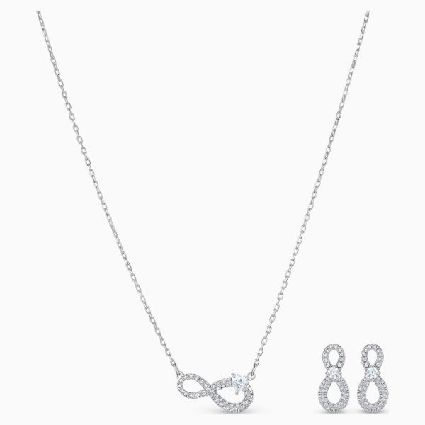 Swarovski  5540702 Halskette mit Anhänger Ohrstecker Set Infinity Weiss Silber-Ton