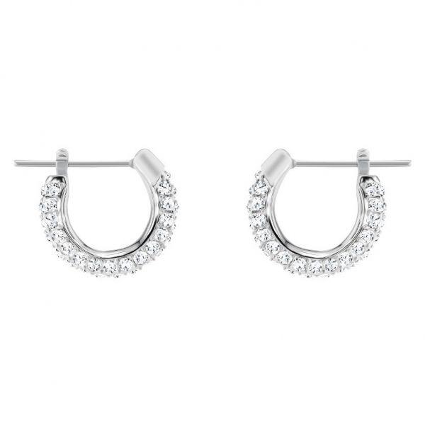 Swarovski 5446004 Ohrringe Creolen Damen Stone Klein Weiss Silber-Ton