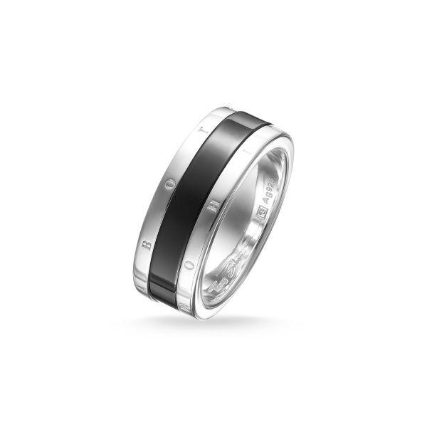Thomas Sabo TR1994-454-11 Ring Herren Keramik Band Schwarz Sterling-Silber
