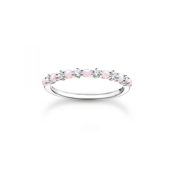 Thomas Sabo TR2343-166-7 Ring Damen Rosa und Weiße Steine Silber