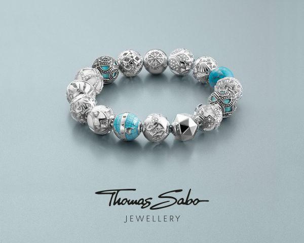 Thomas Sabo K0207-041-32 Karma Bead Fatimas Hand Blau Silber