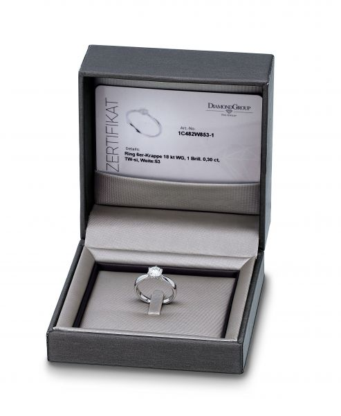 Diamond Group 1A439W452 Ring Brillant 0,10 ct TW-si 14 kt Weissgold Gr. 52