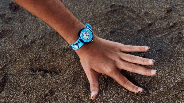 Flik Flak FBNP176 Jungen-Uhr Whale Done Analog Quarz Textil-Armband Ø 31,85 mm