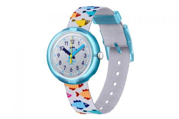 Flik Flak FPNP083 Mädchen-Uhr Fishtastic Analog Quarz Textil-Armband Ø 31,85 mm
