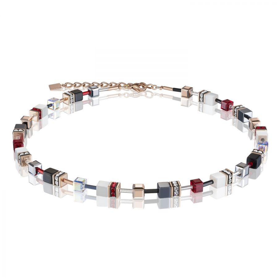 Coeur de Lion 25/25 25 Halskette GeoCUBE® Swarovski® Kristalle Roségold  Rot