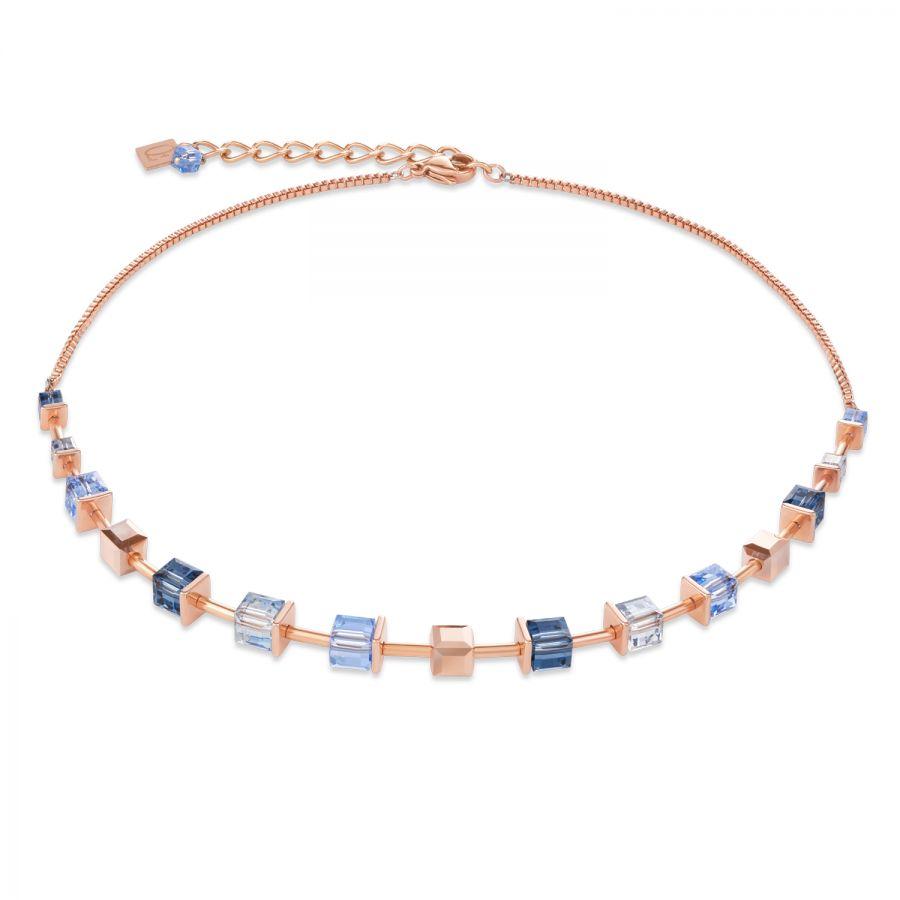 Coeur de Lion 25/25 25 Halskette Monochrome Blue Swarovski® Kristalle  Edelstahl Roségold